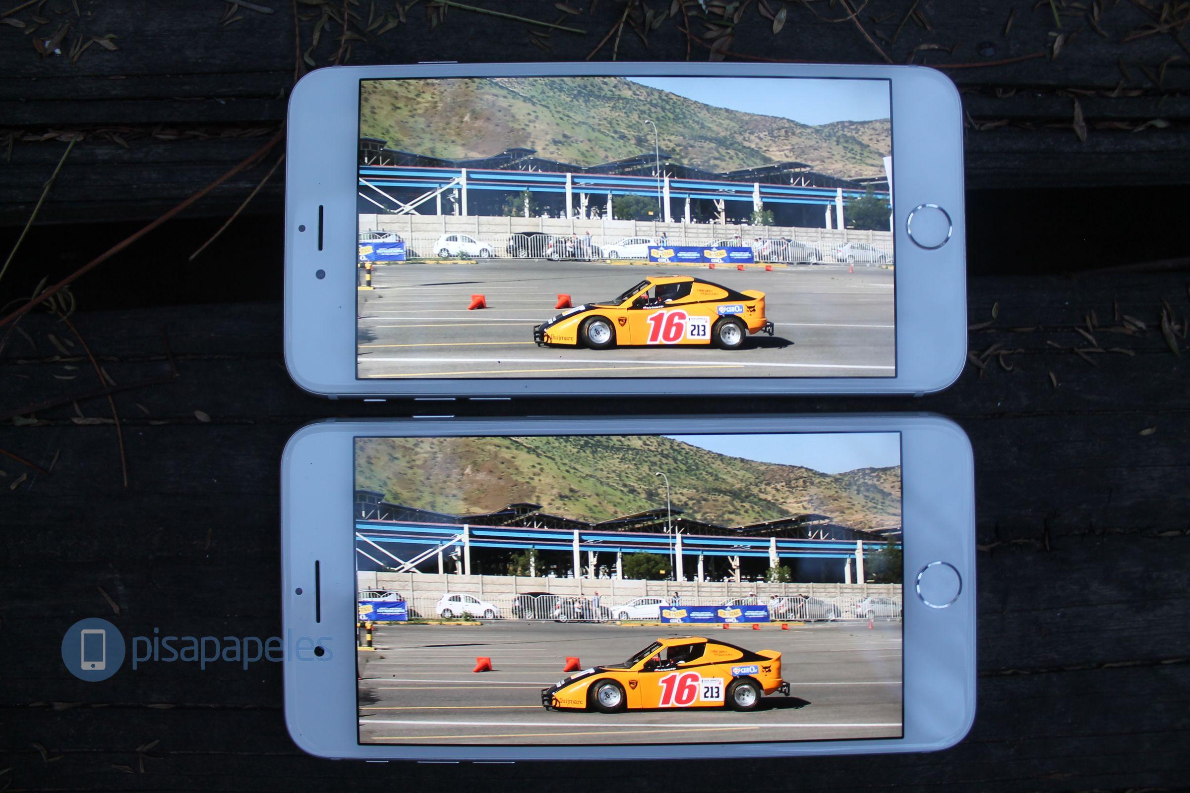 iPhone 6s Plus arriba, iPhone 7 Plus abajo.