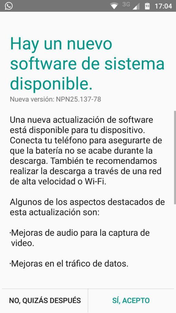 Moto G5 Plus liberado recibe una nueva actualización de software