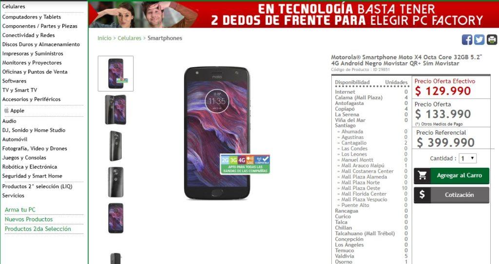 oferta Moto X4 129.990