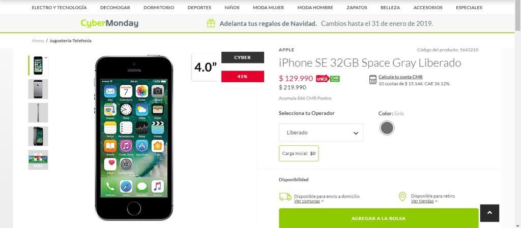 oferta iPhone SE 32GB a 129.990