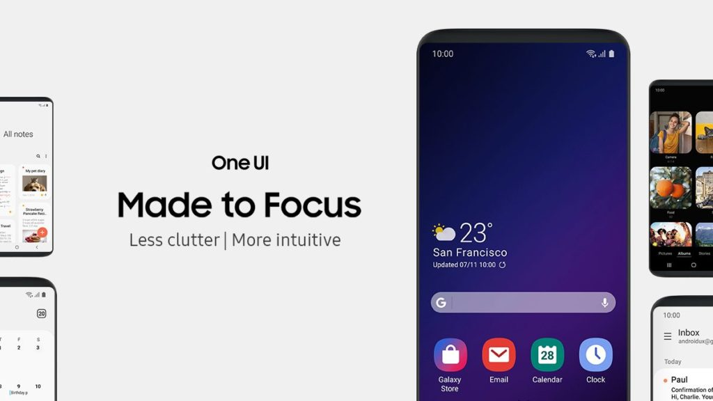 La nueva interfaz One UI estará disponible en la actualización oficial de Android 9 Pie para los dispositivos Galaxy.