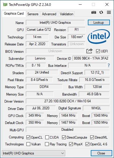 GPU-Z Intel Lenovo Ideapad Gaming 3i