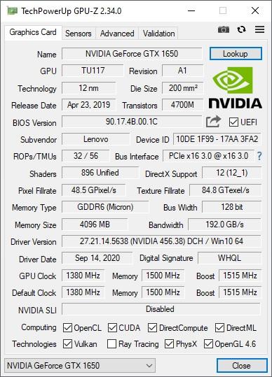 GPU-Z Nvidia Lenovo Ideapad Gaming 3i